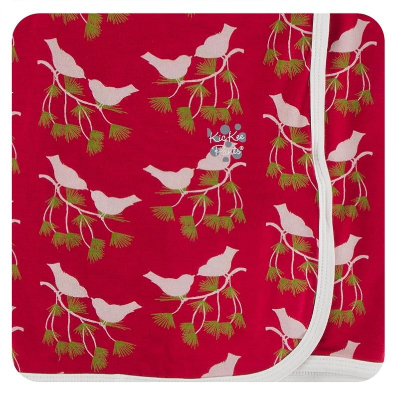 Crimson Kissing Birds bamboo swaddling blanket 1