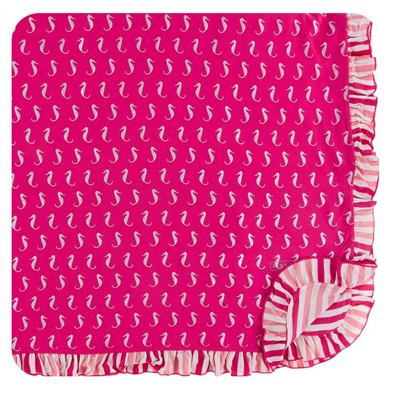 Print Ruffle Toddler Blanket (Prickly Pear Mini Seahorses - One Size) 1