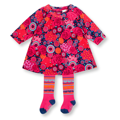 Deep pink corduroy floral dress and tights 1