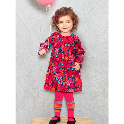 Deep pink corduroy floral dress and tights 2