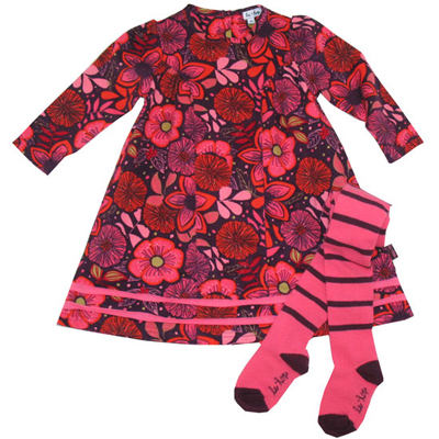Berry and Orange cordoroy floral dress and tights 1