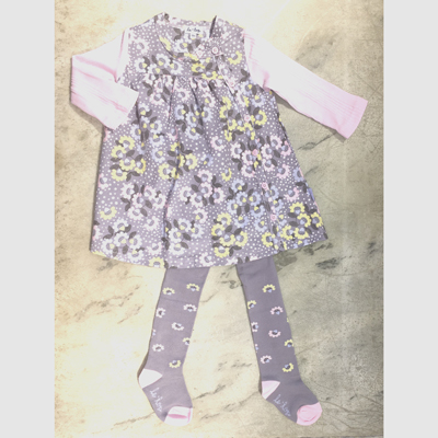 Grey and pink corduroy floral dress and tights - 12 months 1