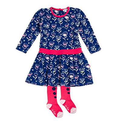 Navy floral dress with pink band & tights 1