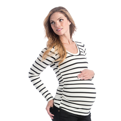 Hailey top in black and ivory stripe 1
