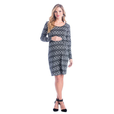 Black and white ikat shift maternity dress 1