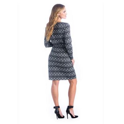 Black and white ikat shift maternity dress 2