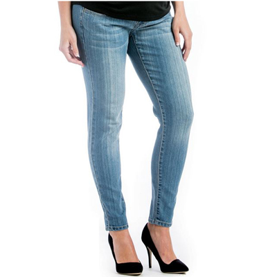 Skinny denim maternity jeans (light wash) 1