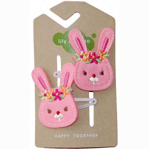Pink bunnies hair clips