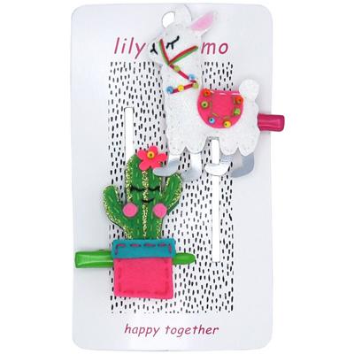 LLama and Cactus hair clips 1