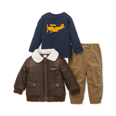 Aviator jacket with navy airplane shirt and brown cords 1