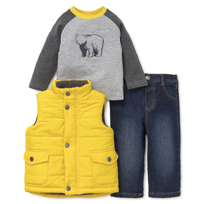 Yellow puff vest,grey bear shirt and jeans set 1