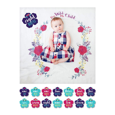 Stay Wild my Child - Baby's First Year blanket and cards set 2