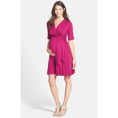 Fuchsia front tie maternity dress 1