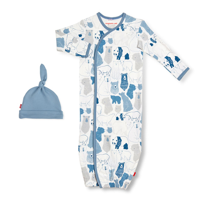 Unbearably cute magnetic organic cotton gown and hat set 1