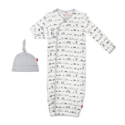 Dig in organic cotton magnetic gown set 1