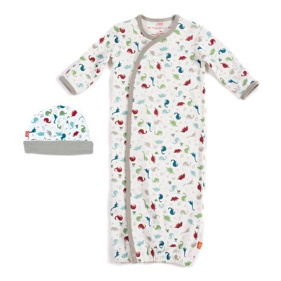 Dino expedition organic cotton magnetic gown set 1