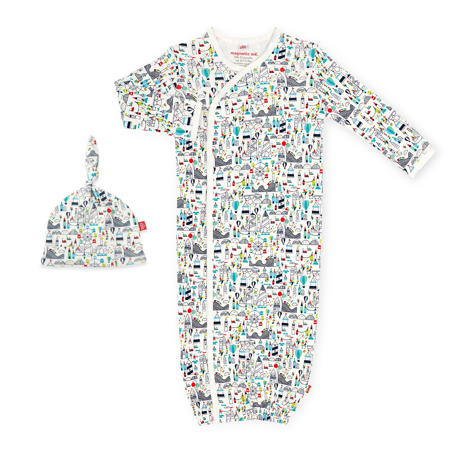 Fun Fair organic cotton magnetic gown and hat 1