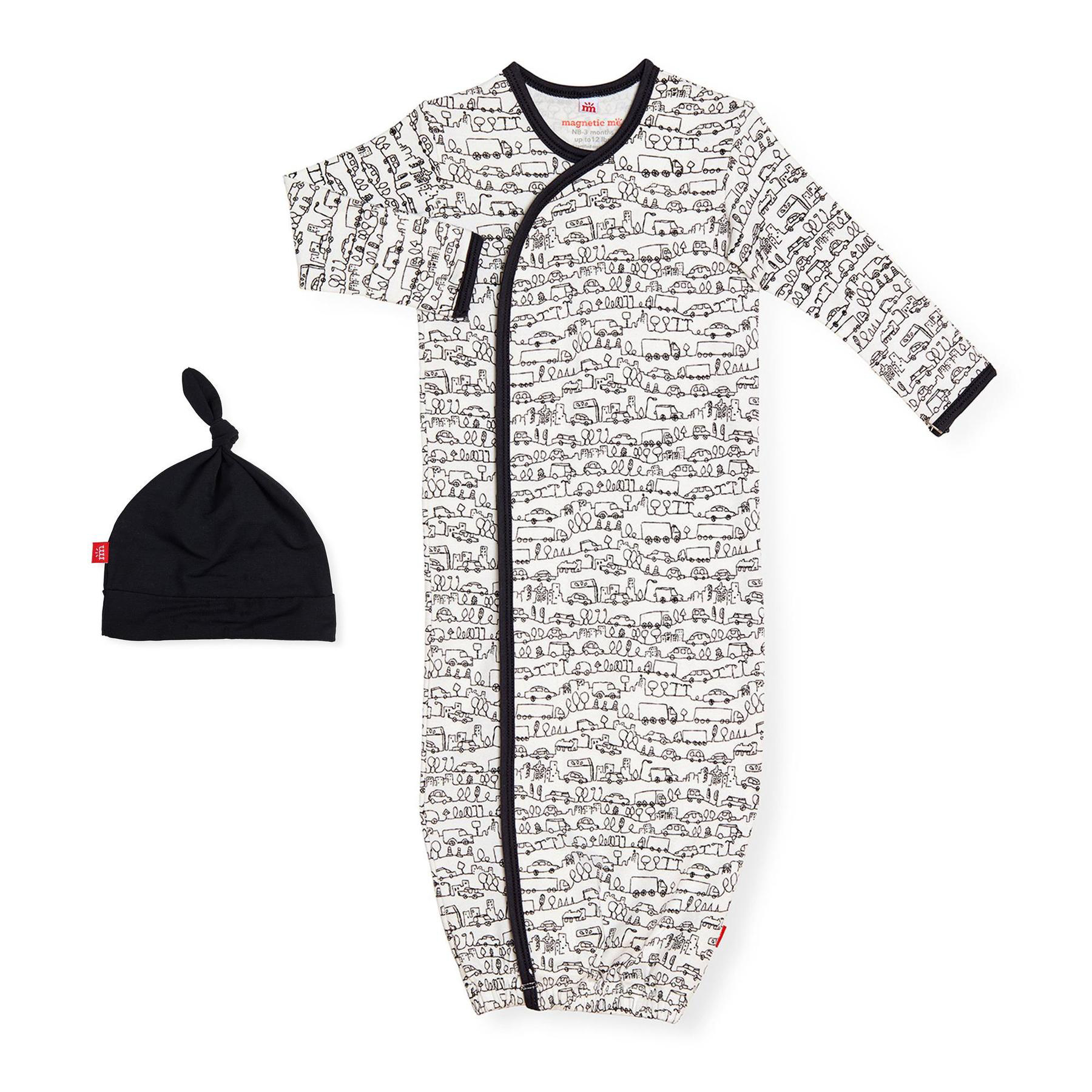 Going places organic cotton magnetic gown and hat 1