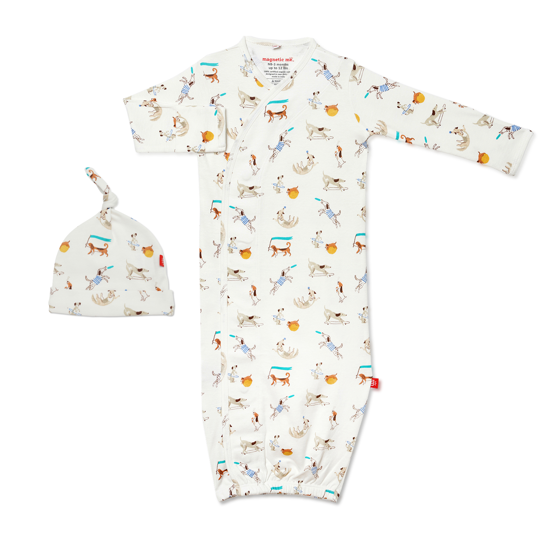 Howlarious organic cotton magnetic gown & hat 1