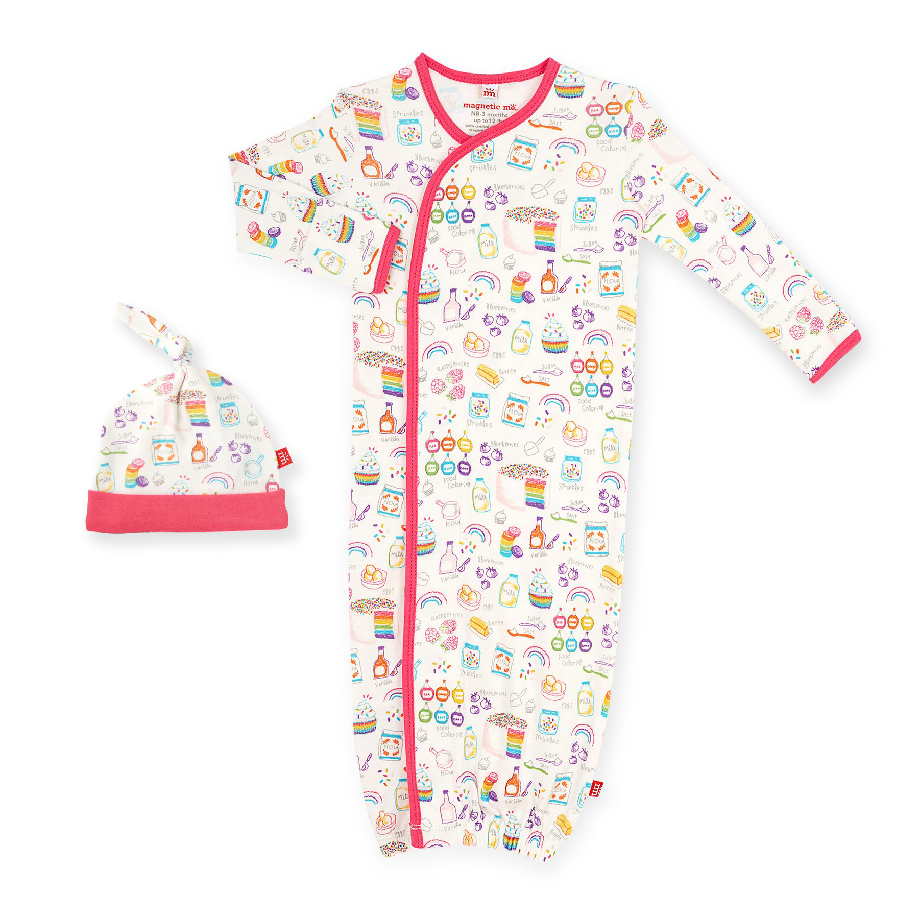 Rainbow Sprinkles organic cotton magnetic gown and hat set 1