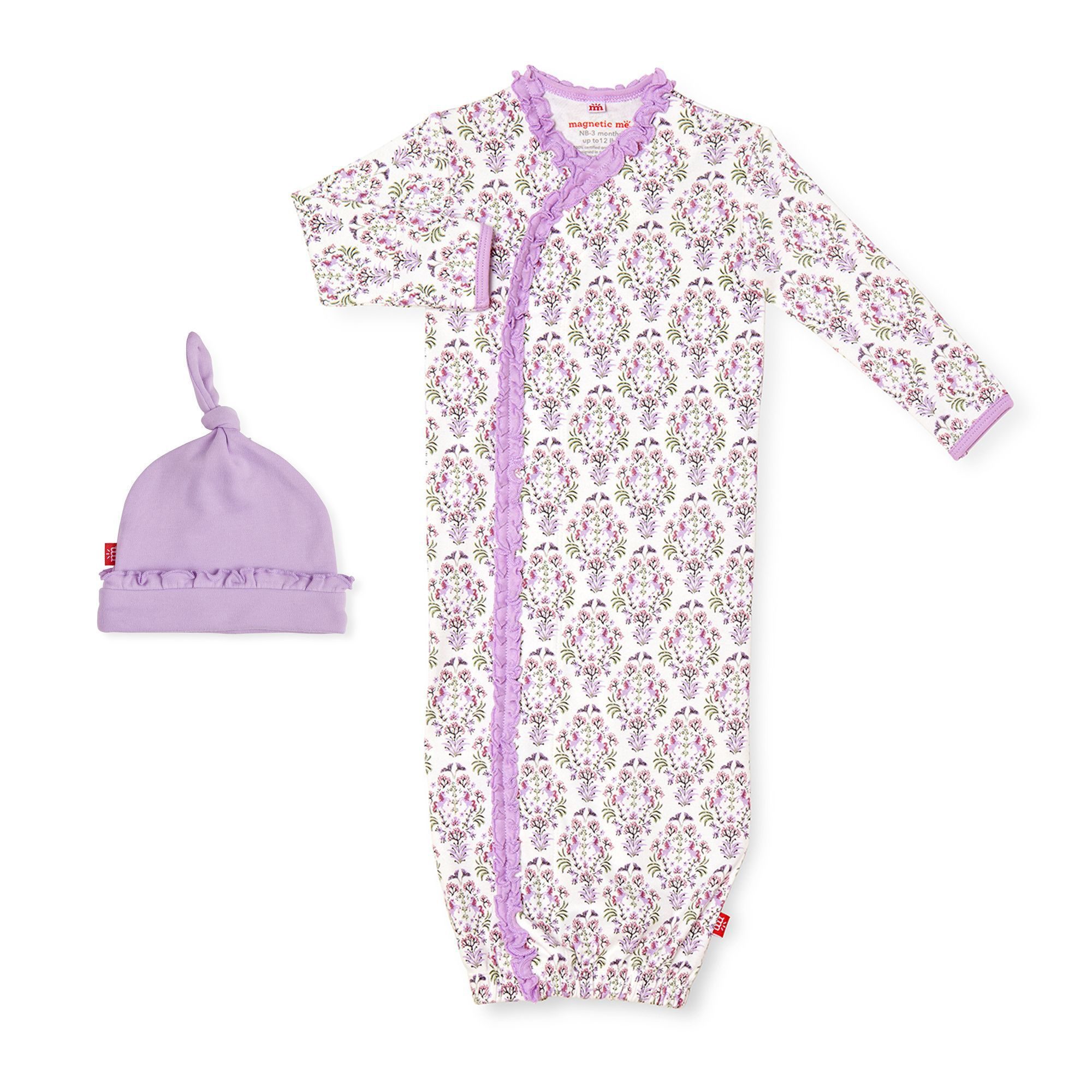 Unicorn Dreams organic cotton magnetic gown and hat 1
