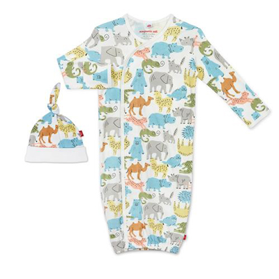 Zoo crew organic cotton magnetic gown set 1
