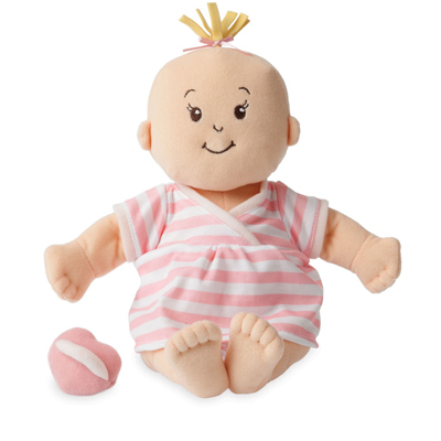 Baby Stella peach doll with pink striped dress 1