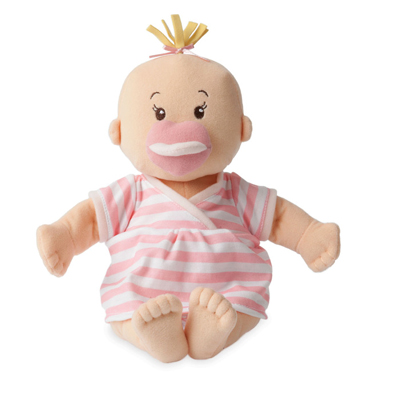 Baby Stella peach doll with pink striped dress 2