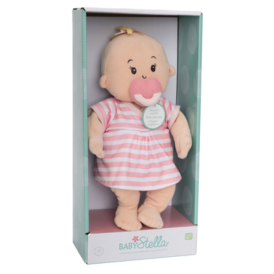 Baby Stella peach doll with pink striped dress 3