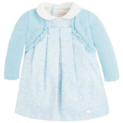 Blue lace dress with attached cardigan 1