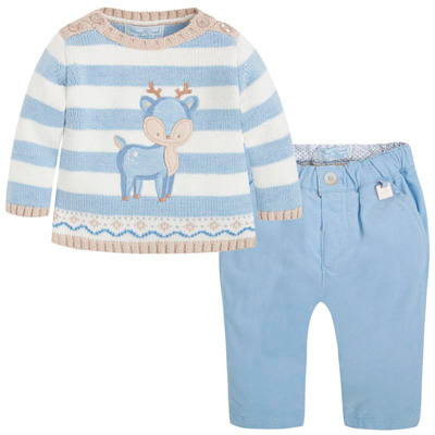 Deer sweater and cordoroy pants set 1