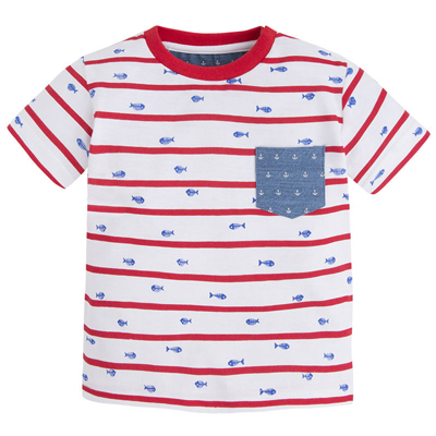 Red,white and blue fish bones shirt - 9 months 1