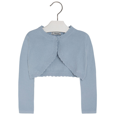 Blue solid one button cardigan 1