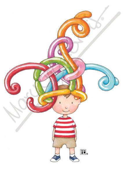 Balloon Hat Boy Greeting Card 1