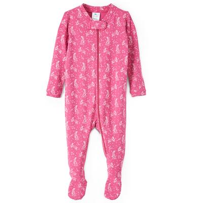 Pink constellation bunny footie 1