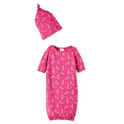 Pink Constellation bunny gown and hat set(newborn) 1