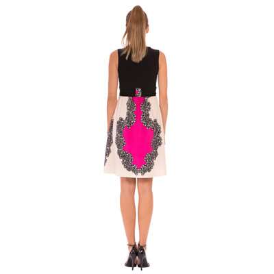 Black and Fuchsia front tie maternity dress 2