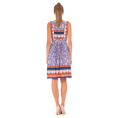 Blue and orange print maternity dress 3