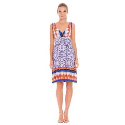 Blue and orange print maternity dress 1