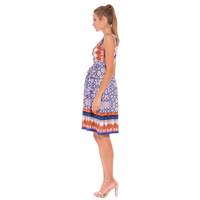 Blue and orange print maternity dress 2