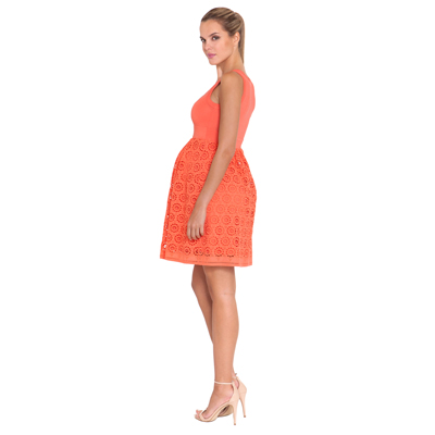 Coral scoop neck maternity dress 2