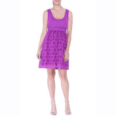Purple scoop neck maternity dress 2