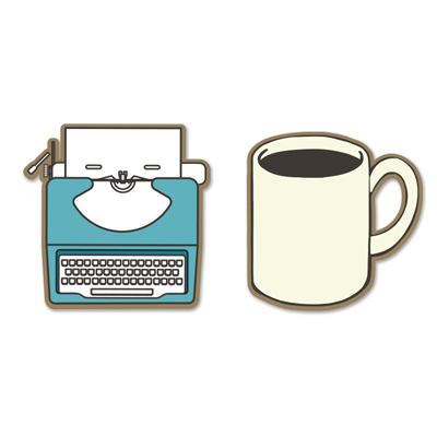 Typewriter and Coffee enamel pins 1