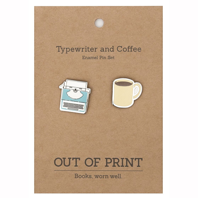 Typewriter and Coffee enamel pins 2