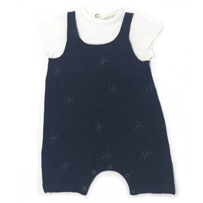 Blue star cotton and linen blend romper 1