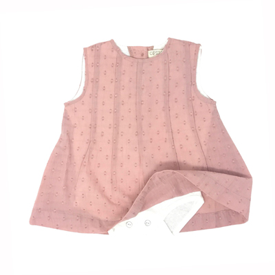 Dusty pink pleated dress with built in onesie 1