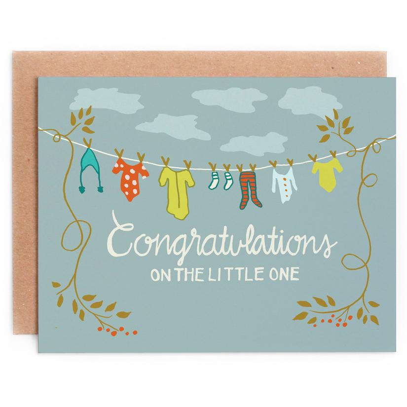 Congratulations Clothesline baby card 1