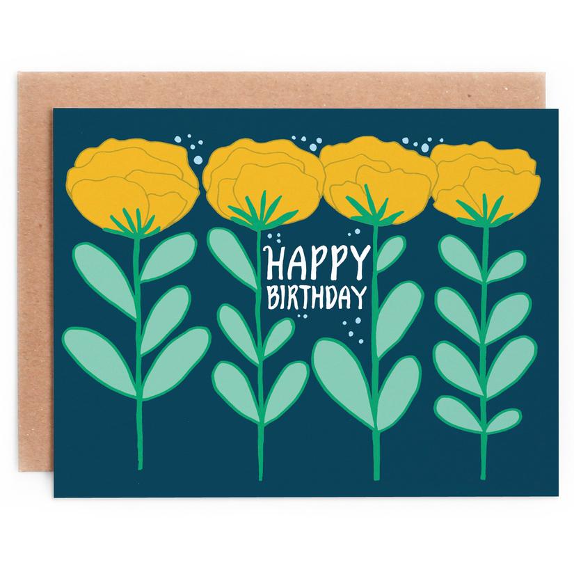 Floral Row Birthday Card 1