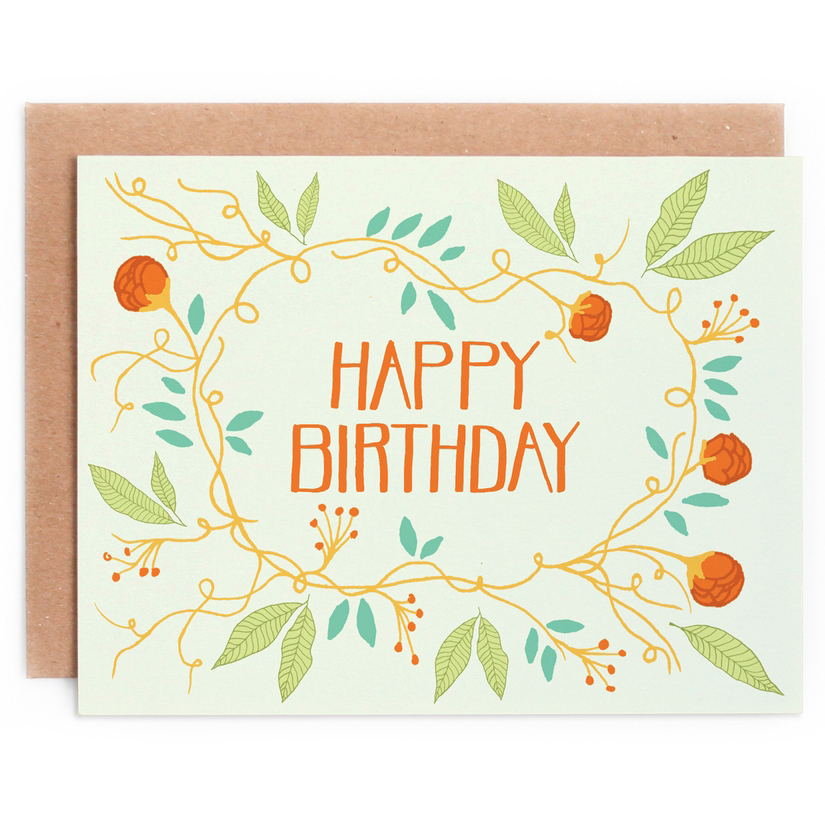 Floral Wreath Birthday Card 1