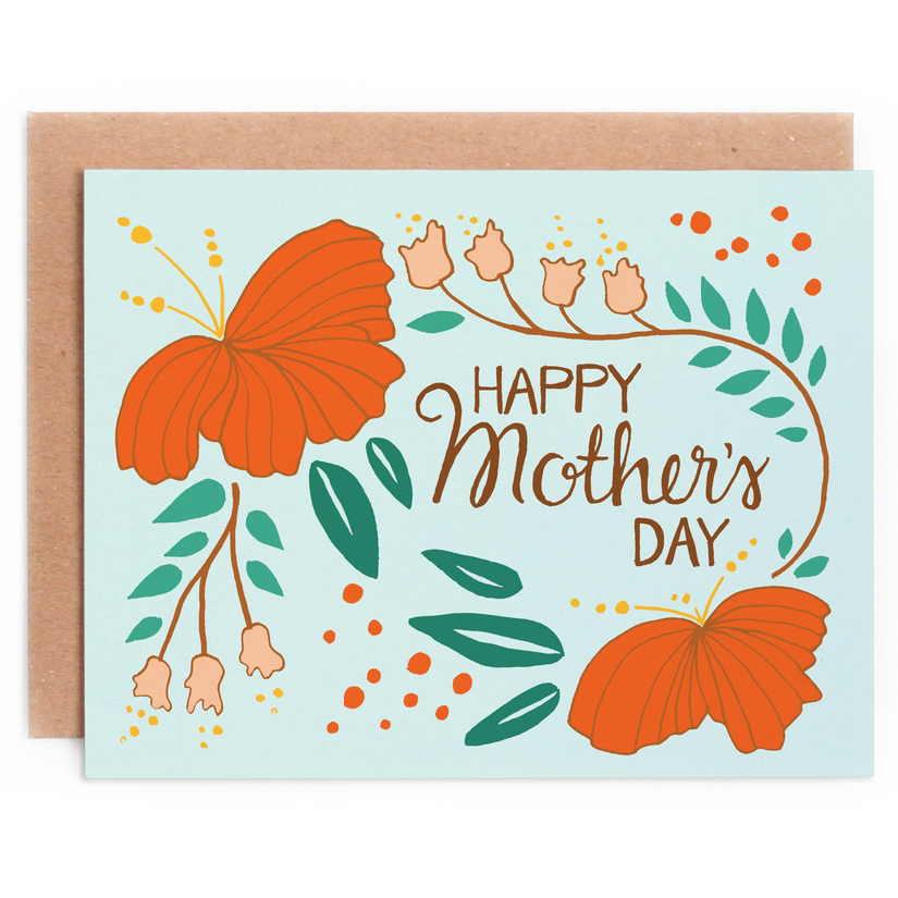 Blue Leaves Swirl Flowers Mother's Day Card 1